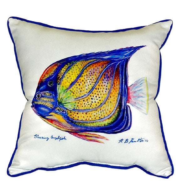 Blue Ring Angelfish Small Indoor or Outdoor Pillow 12x12