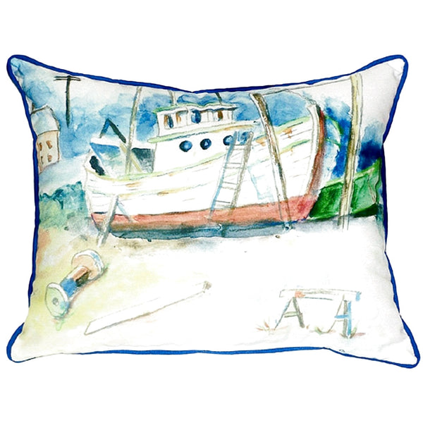Old Boat Small Indoor or Outdoor Pillow