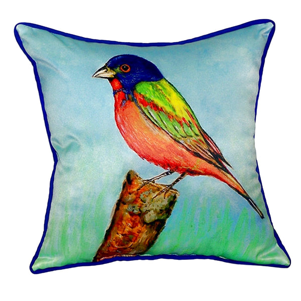 Painted Bunting Small Indoor or Outdoor Pillow 12x12