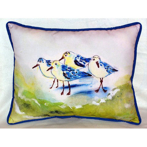 Green Sanderlings Small Indoor or Outdoor Pillow 11x14