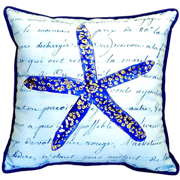 Blue Starfish Small Indoor or Outdoor Pillow  12x12