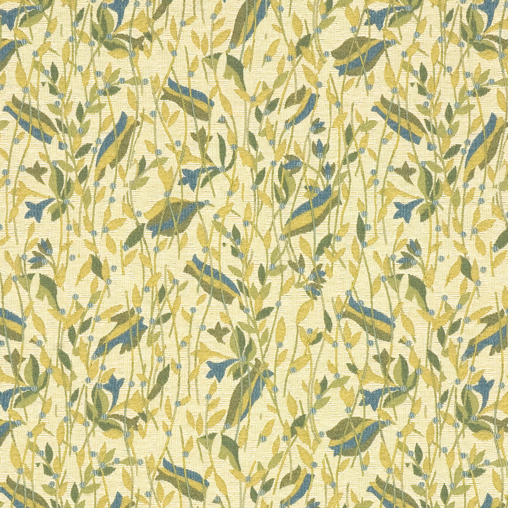 Tupelo Angel Brown Blue Tan Beige Aqua Sky Leaves Floral Woven Upholstery Fabric