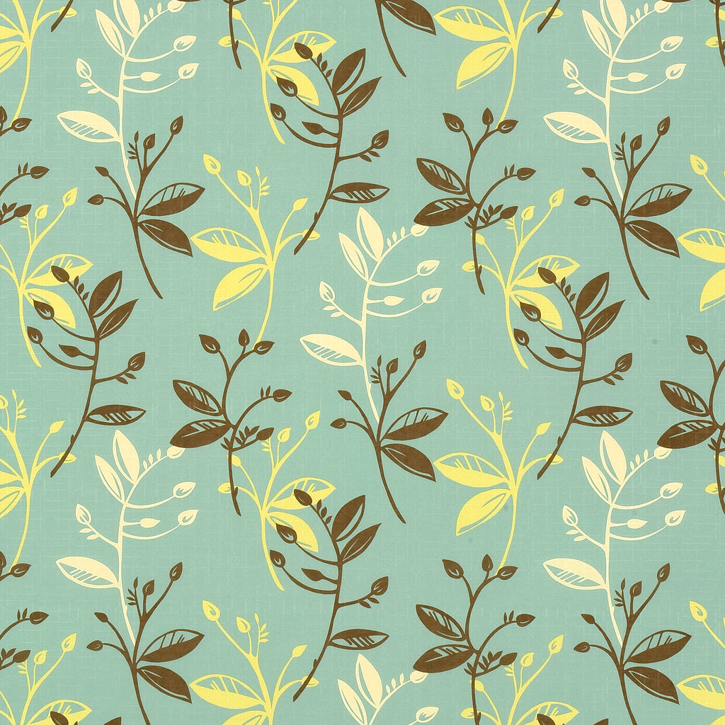 Willow Coast Blue Brown Aqua Sky Leaves Floral Woven Flat Upholstery Fabric