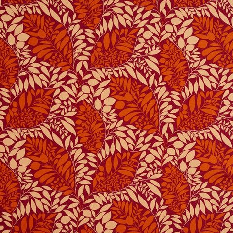 Beige and Burgundy Coral Leaf Mosaic Contemporary Print Upholstery Fabric