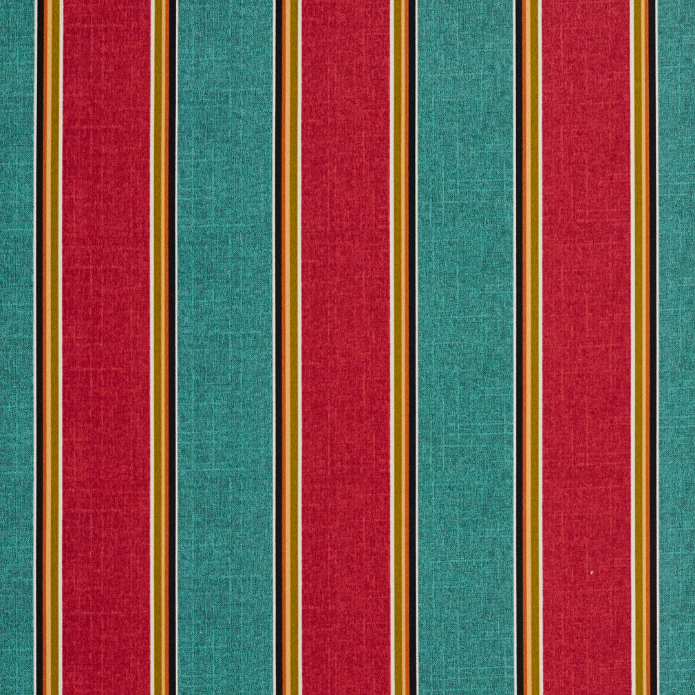 Aqua and Red Large Stripe Contemporary Print Upholstery Fabric