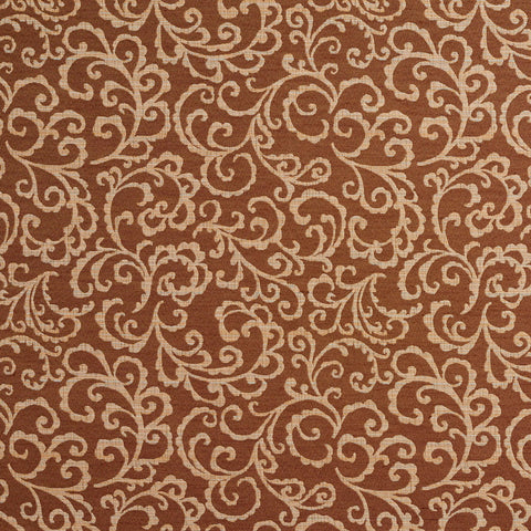 Beige and Brown Swirl Foliage Damask Upholstery Fabric