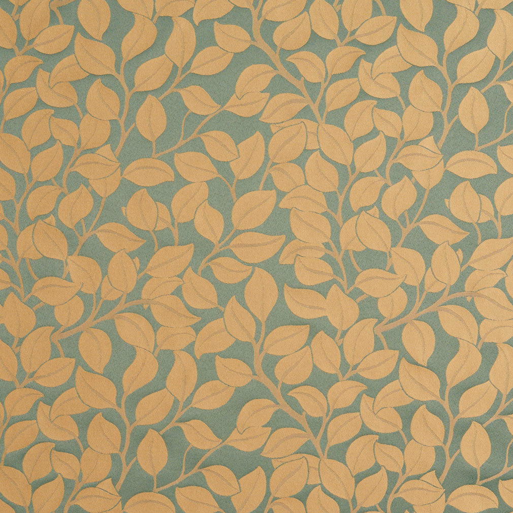 Aqua and Beige  Modern Leaf Vines Damask Upholstery Fabric