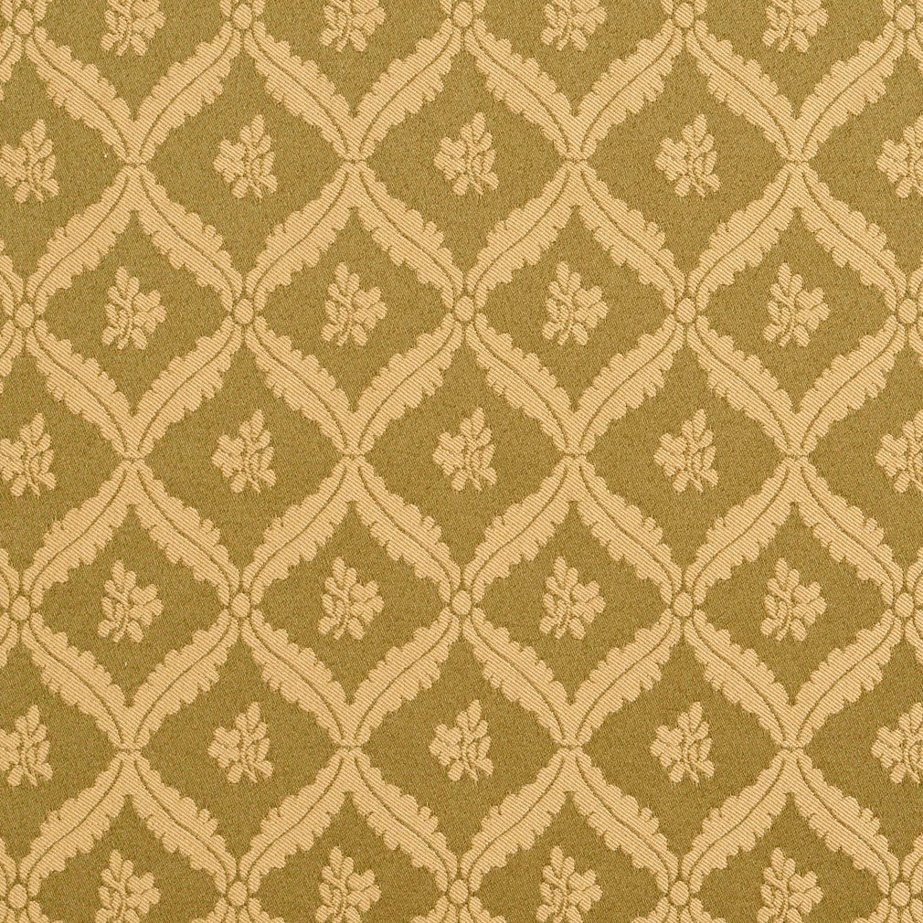 Gold And Geen Light Floral Leaf Diamond Damask Upholstery Fabric
