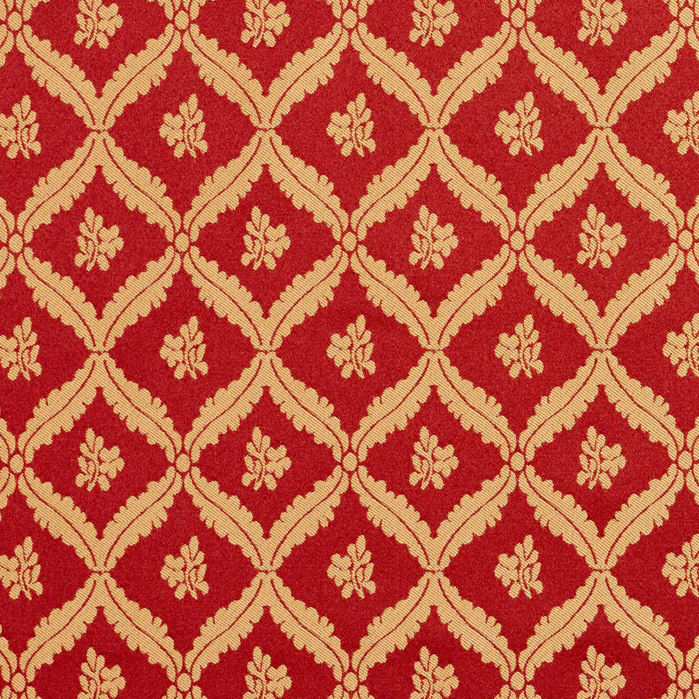 Burgundy And Gold Floral Leaf Diamond Damask Upholstery Fabric