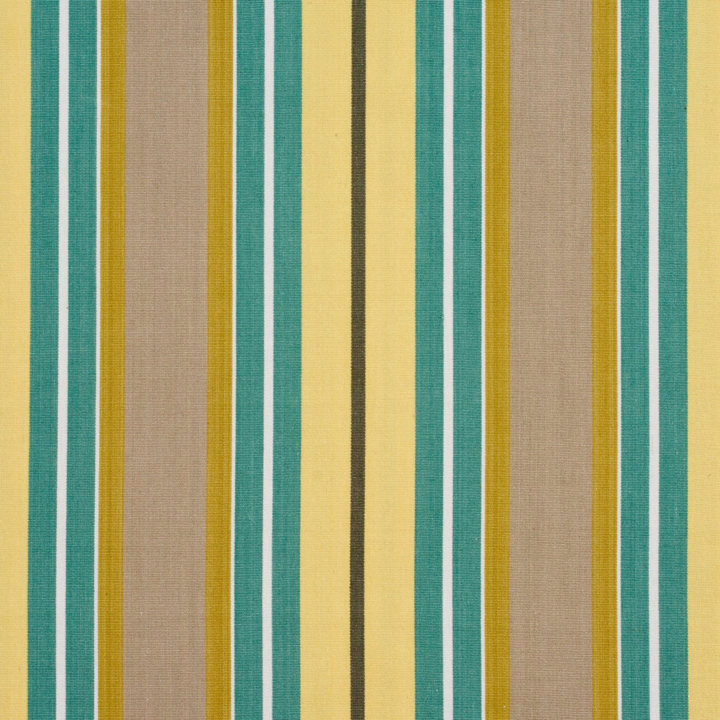 Aqua and Beige Contemporary Small Stripe Denim All Cotton Upholstery Fabric
