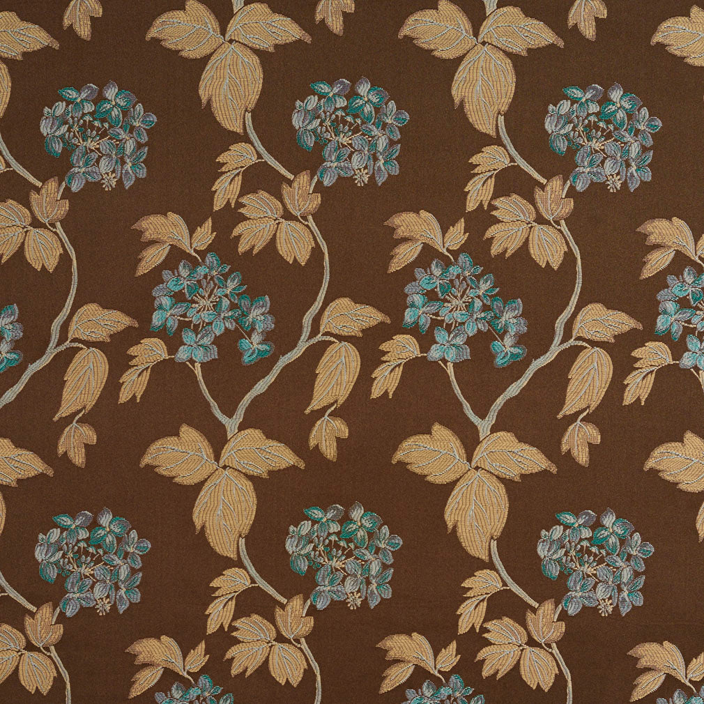 Aqua Flower and Tan Branch Contemporary Damask Upholstery Fabric