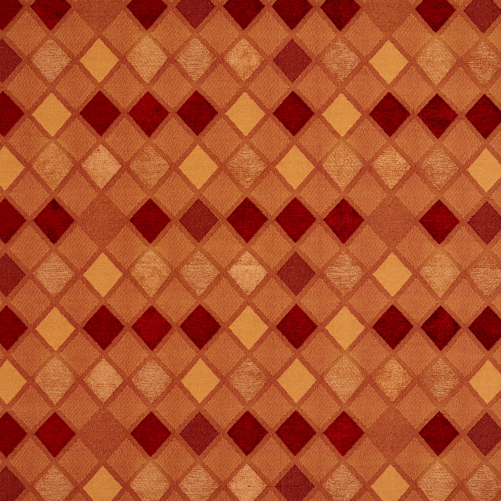 Burgundy Gold and Orange Contemporary Diamond Chenille Upholstery Fabric