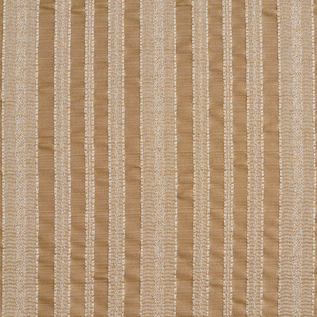 Beige and White Small Decorative Stripe Contemporary Brocade Upholstery Fabric
