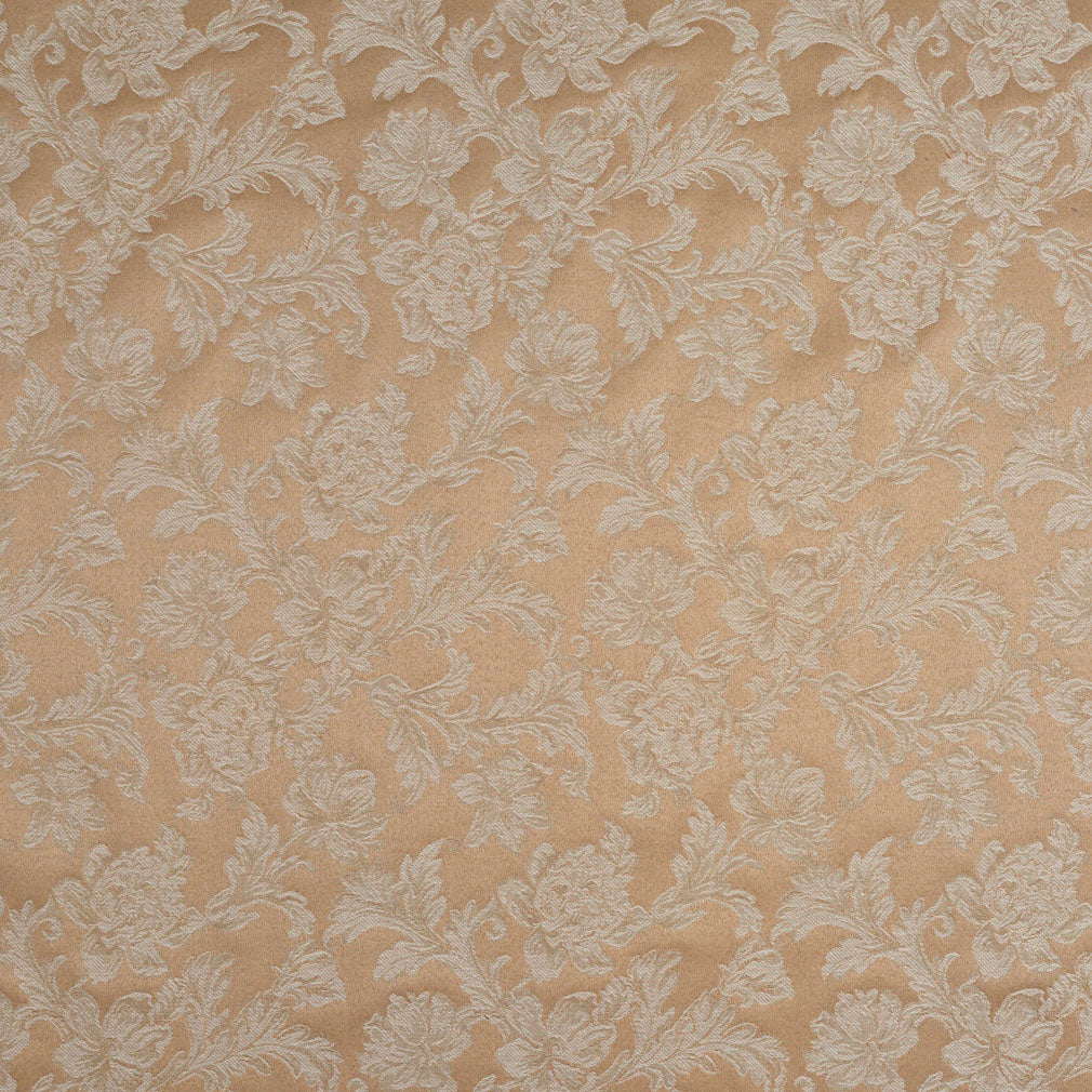 Beige and White Foliage Floral Twines with Leafs Elegant Classic Damask Upholste