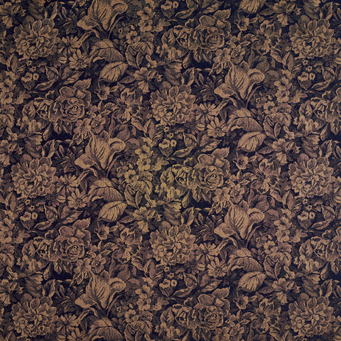 Beige and Blue Foliage Floral Fall Forest Garden Woven Damask Upholstery Fabric