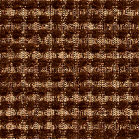 Beige and Brown Small Scale Checkered Look Chenille Upholstery Fabric