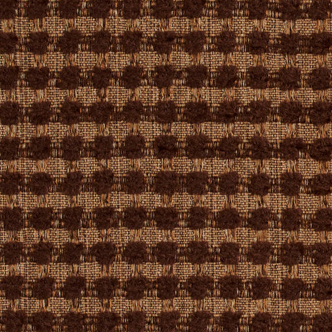 Brown Small Scale Checkered Look Chenille Upholstery Fabric