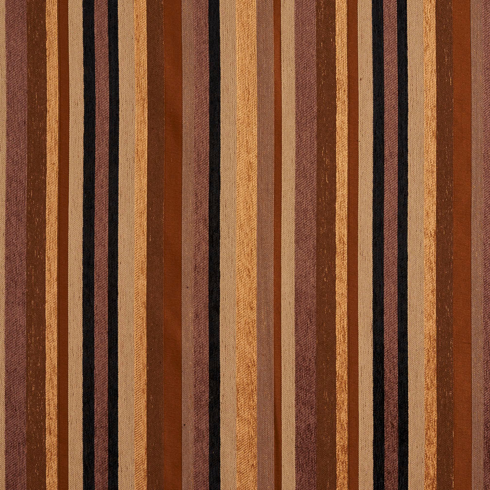 Beige Gold and Brown Small Stripe Chenille Upholstery Fabric