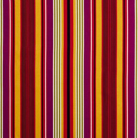 Red Purple Black and Gold Small Retro Modern Stripe Contemporary Print 100% Cott