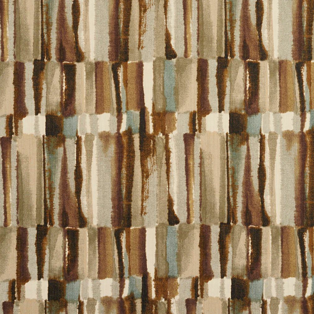 Brown and Grey Watercolor Abstract Bark or Bamboo Print Upholstery Fabric