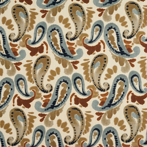 Beige Blue and Brown Abstract Watercolor Paisley Print Upholstery Fabric