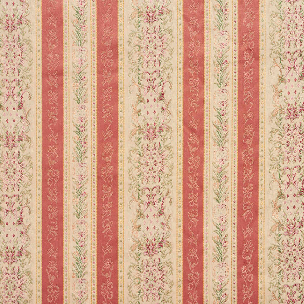 Coral and Tan Heirloom Stripe Brocade Upholstery Fabric