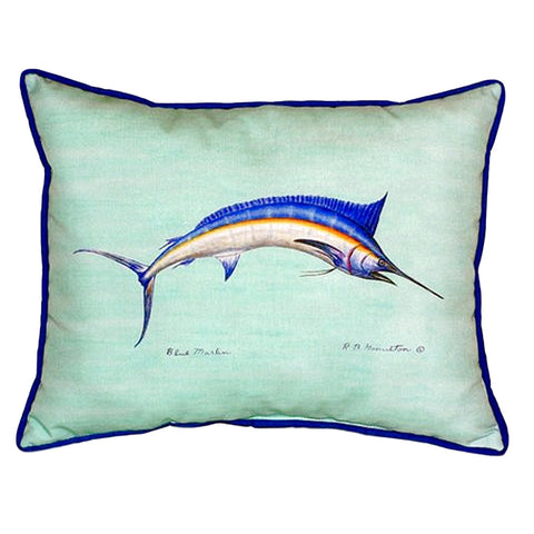 Blue Marlin - Teal Extra Large Zippered Indoor or Outdoor Pillow 20x24