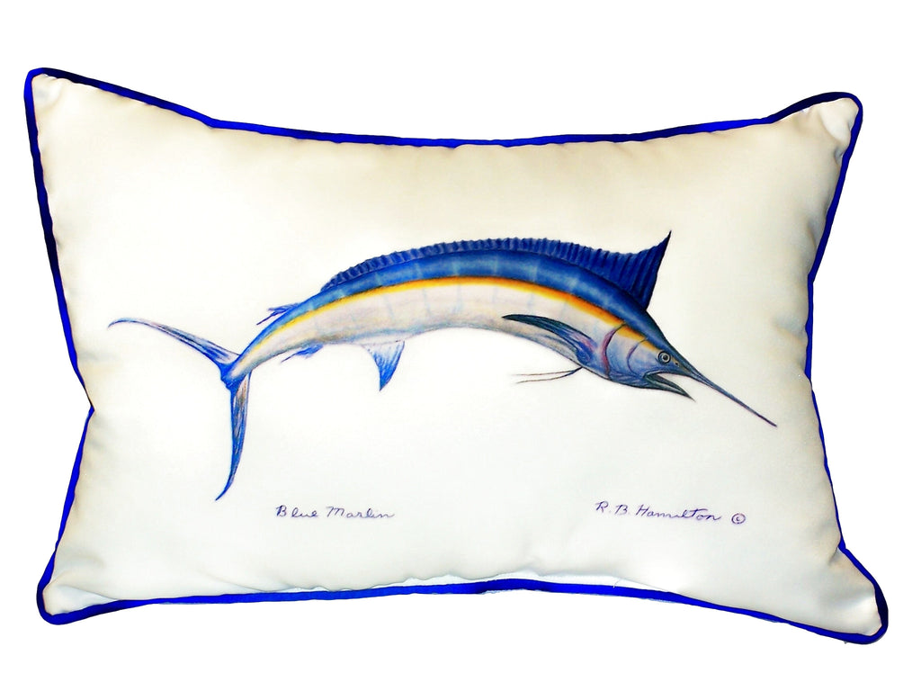 Blue Marlin Extra Large Zippered Indoor or Outdoor Pillow  20x24