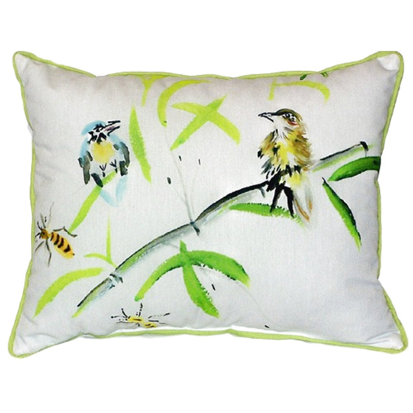 Birds & Bees I Extra Large Zippered Indoor or Outdoor Pillow 20x24