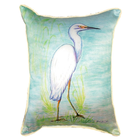 Snowy Egret Extra Large Zippered Indoor or Outdoor Pillow