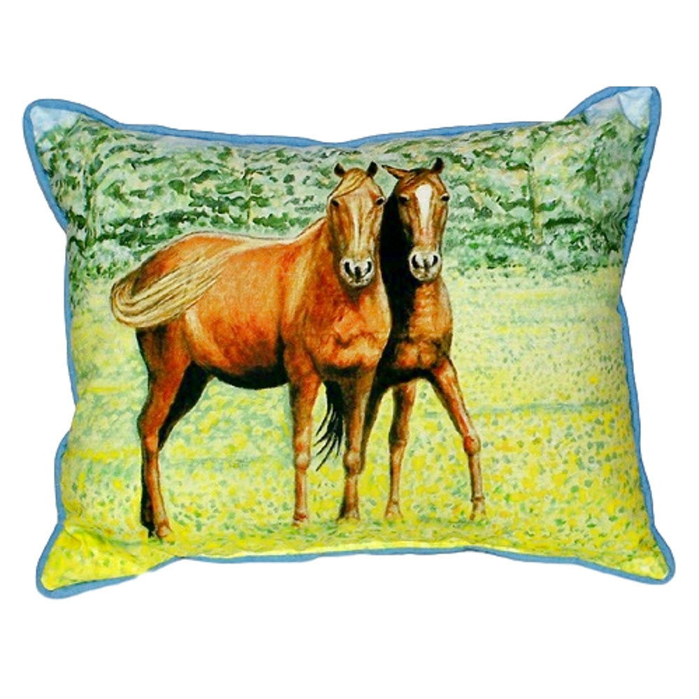 Two Horses Extra Large Zippered Indoor or Outdoor Pillow 20x24