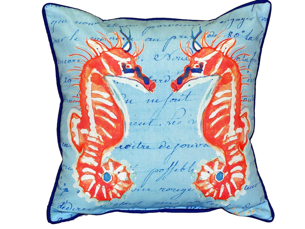 Coral Sea Horses Blue Extra Large Zippered Indoor or Outdoor Pillow 22x22
