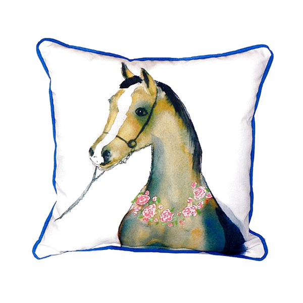 Horse & Garland Extra Large Zippered Indoor or Outdoor Pillow 22x22