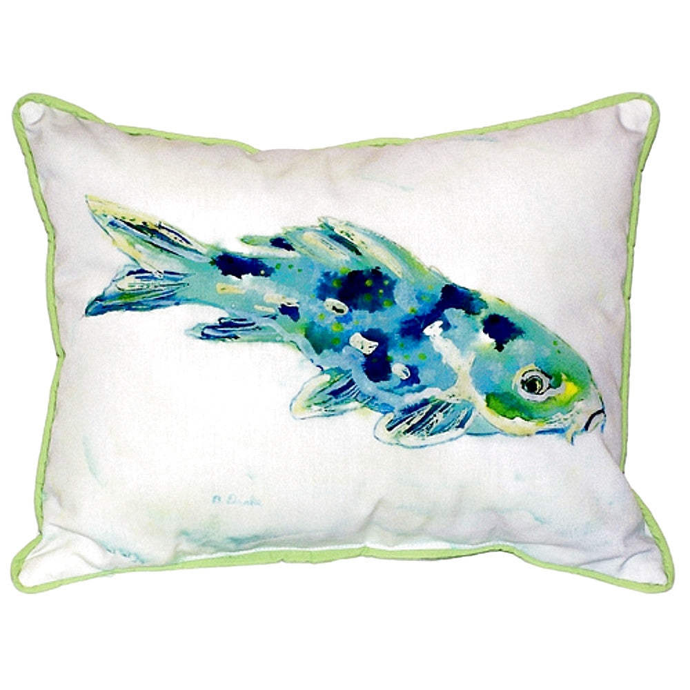 Blue Koi Extra Large Zippered Indoor or Outdoor Pillow 20x24