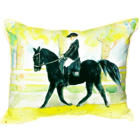 Black Horse & Rider Extra Large Zippered Indoor or Outdoor Pillow 20x24