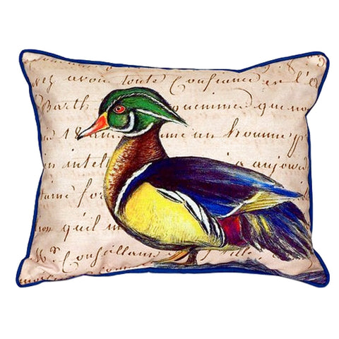 Male Wood Duck Script Extra Large Zippered Indoor or Outdoor Pillow 20x24