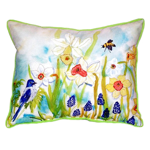 Bird & Daffodils Extra Large Zippered Indoor or Outdoor Pillow 22x22