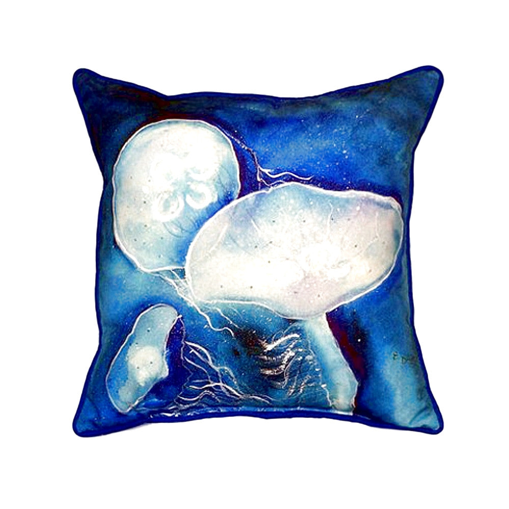 Blue Jellyfish Extra Large Zippered Indoor or Outdoor Pillow 22x22