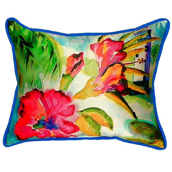 Lighthouse and Florals Extra Large Zippered Indoor or Outdoor Pillow 20x24
