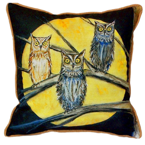 Night Owls Extra Large Zippered Indoor or Outdoor Pillow 22x22