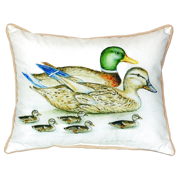 Mallard Family Extra Large Zippered Indoor or Outdoor Pillow 22x22
