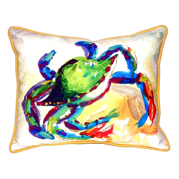 Teal Crab Extra Large Zippered Indoor or Outdoor Pillow 20x24