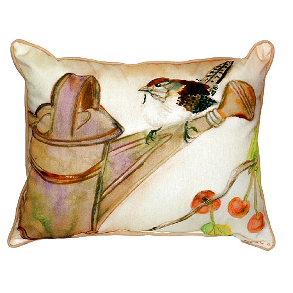 Carolina Wren Extra Large Zippered Indoor or Outdoor Pillow 20x24