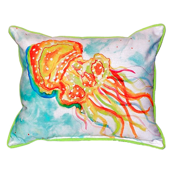Orange Jellyfish Extra Large Zippered Indoor or Outdoor Pillow