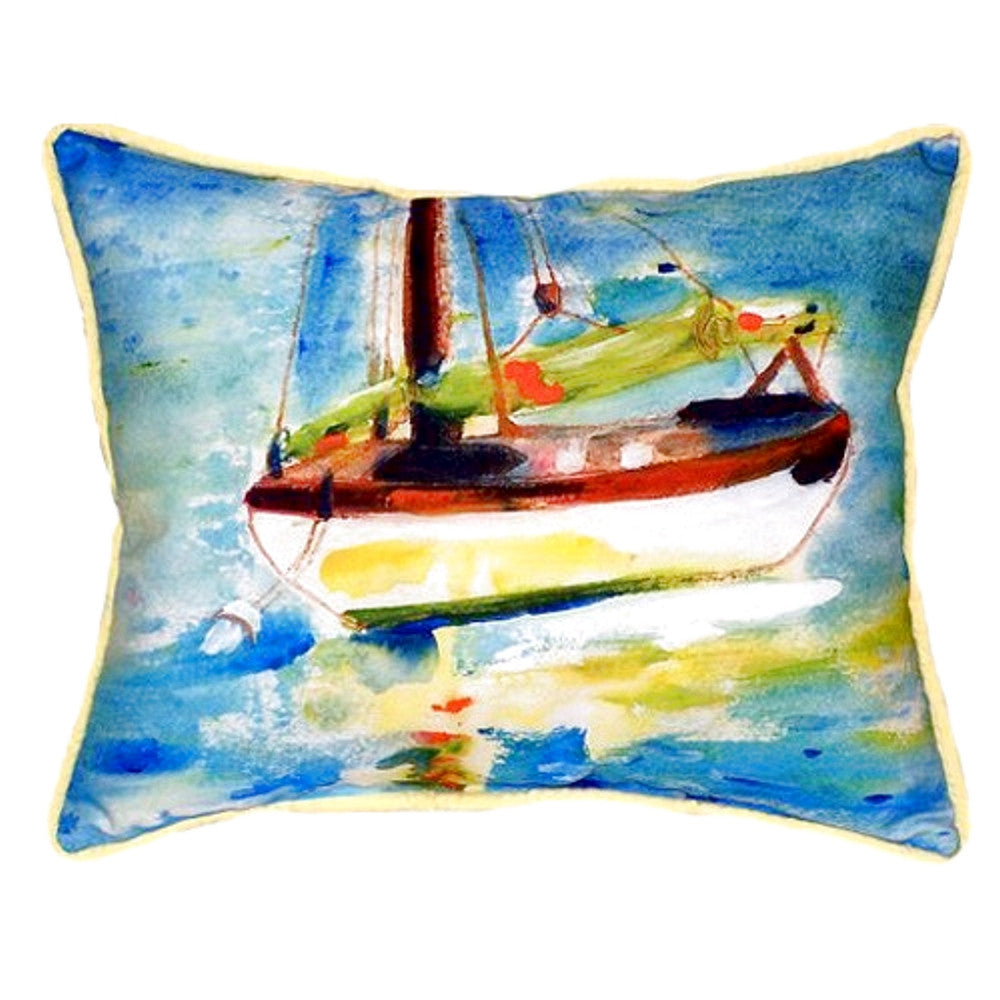 Yellow Sailboat Extra Large Zippered Indoor or Outdoor Pillow 20x24