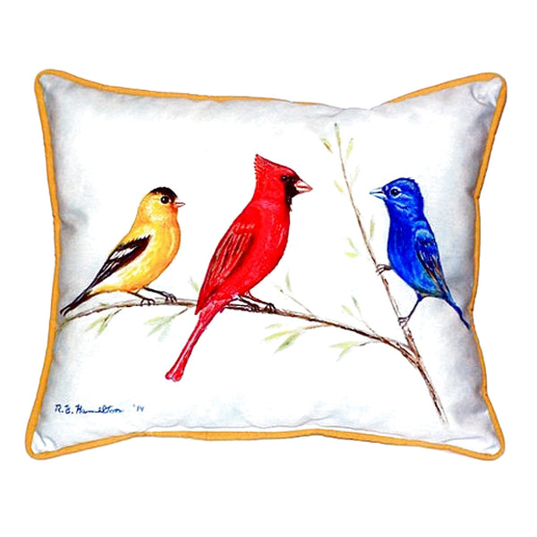 Three Birds Extra Large Zippered Indoor or Outdoor Pillow 20x24