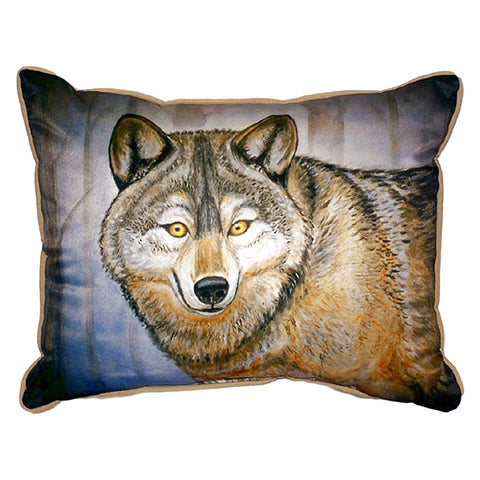 Grey Wolf Extra Large Zippered Indoor or Outdoor Pillow 20x24