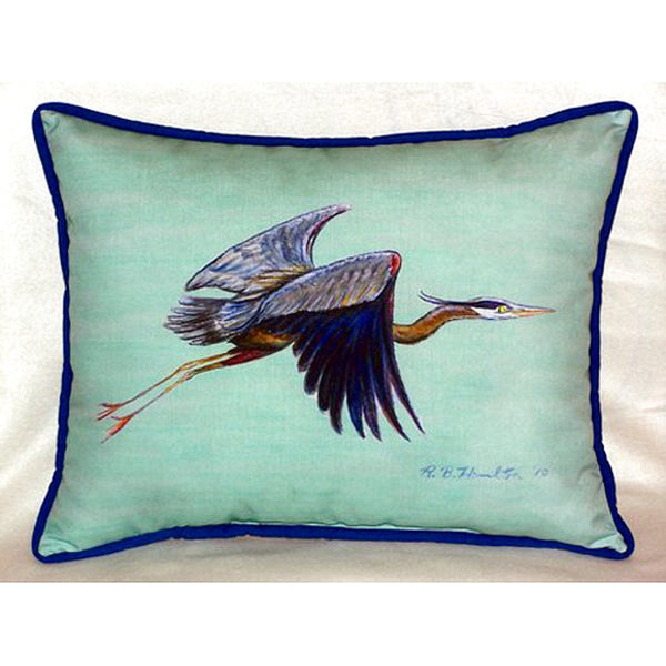 Flying Blue Heron - Teal Extra Large Zippered Indoor or Outdoor Pillow 20x24