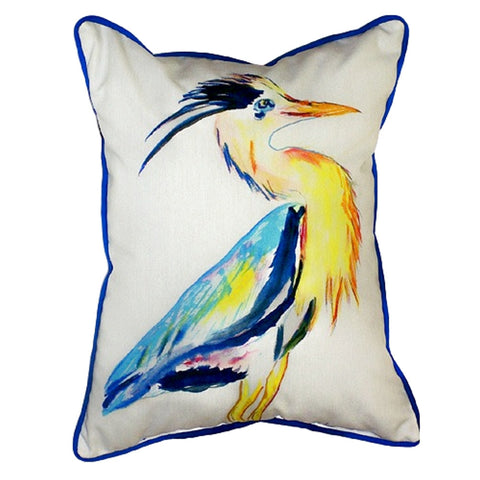 Vertical Blue Heron Extra Large Zippered Indoor or Outdoor Pillow