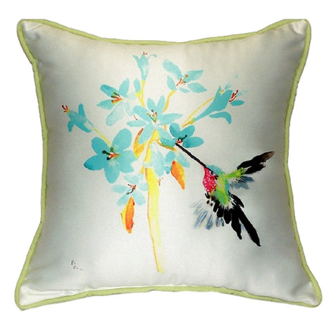 Blue Hummingbird Extra Large Zippered Indoor or Outdoor Pillow 22x22